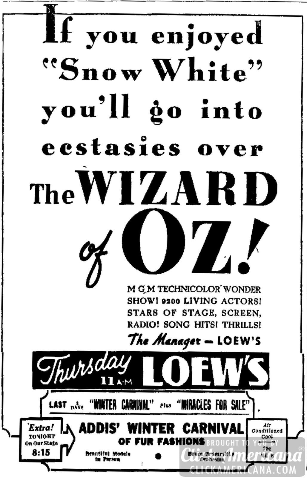 A marvelous screen show! Wizard of Oz in theaters (1939)