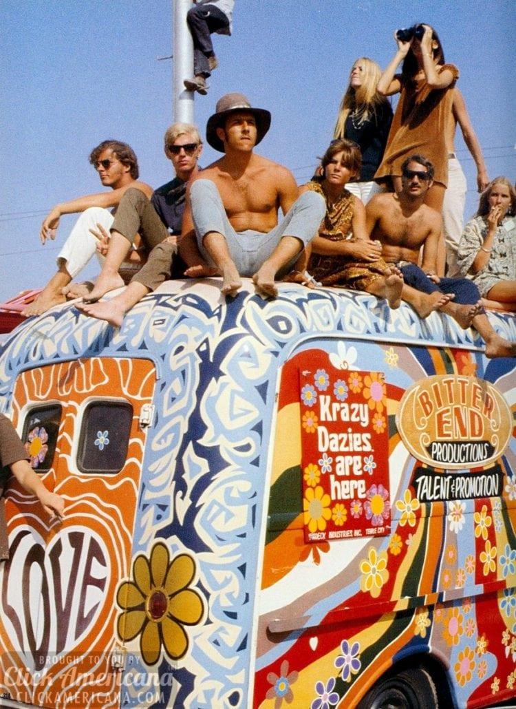 Flower power hippie bus van