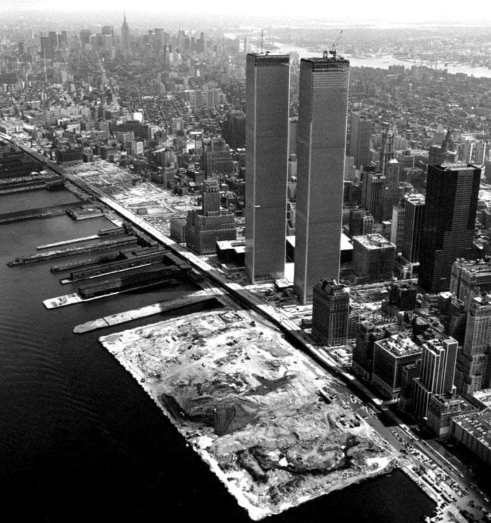 The World Trade Center during construction