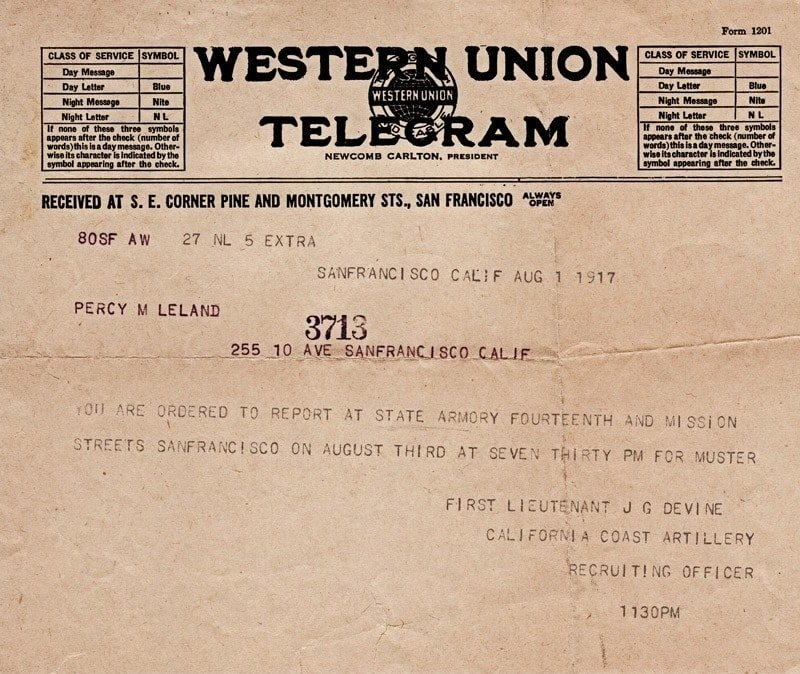 Telegram: Military service for WWI (1917)