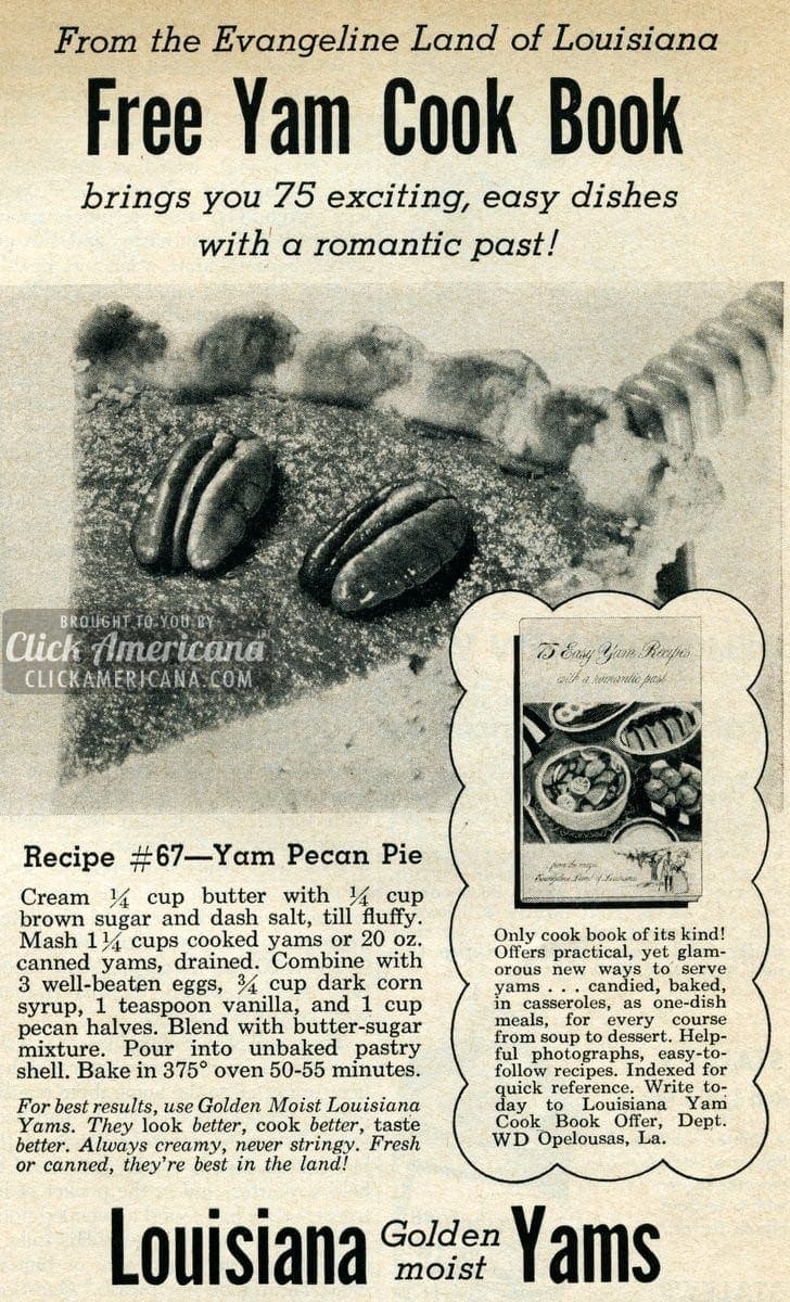 Yam Pecan Pie recipe (1956)