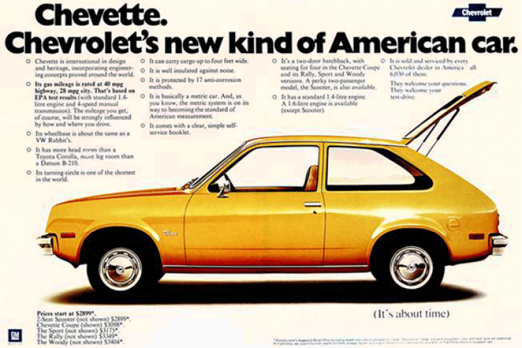 chevrolet chevette a new kind of american car 1975 click americana chevrolet chevette a new kind of