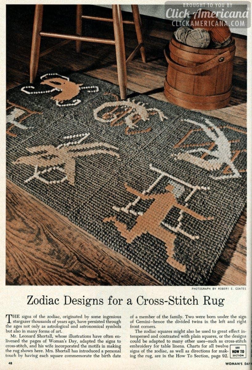 Zodiac designs for a cross-stitch rug (1950)