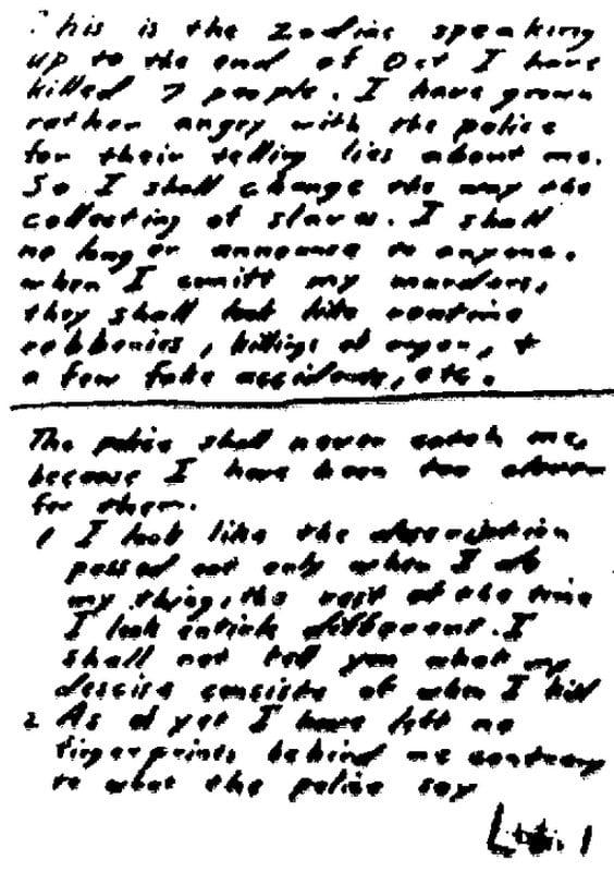 zodiac killer sends cipher hints  1969